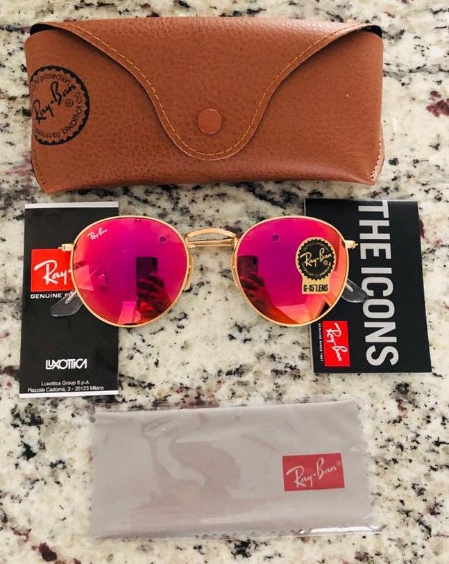 Ray-Ban Rayban Sunglasses Round Metal Pink Size 50mm