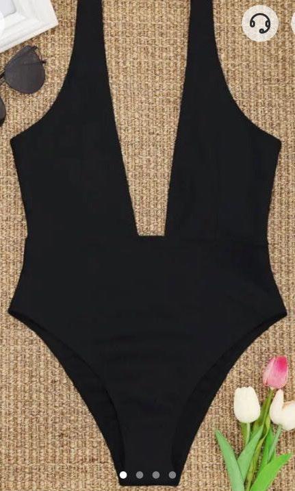 Zahrah Black Hight Cut Plunge Neck Swimsuit
