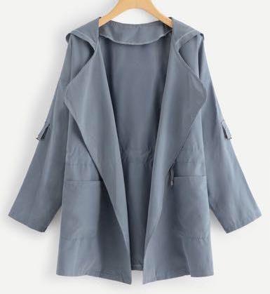 SheIn Blue Pocket Drawstring Waist Hooded Coat