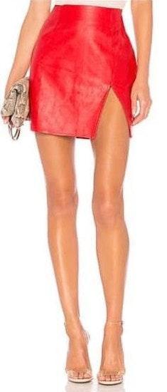 Revolve Red Leather Slit Skirt