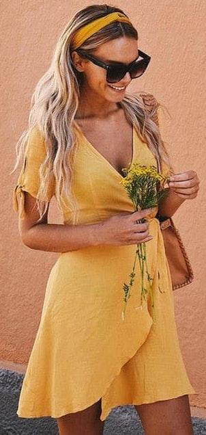 Lulus Yellow Wrap Dress