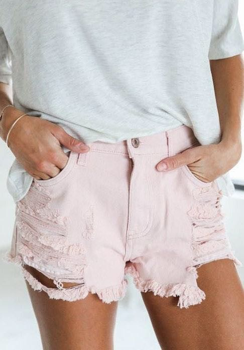Pistola Light Pink, Distressed Shorts