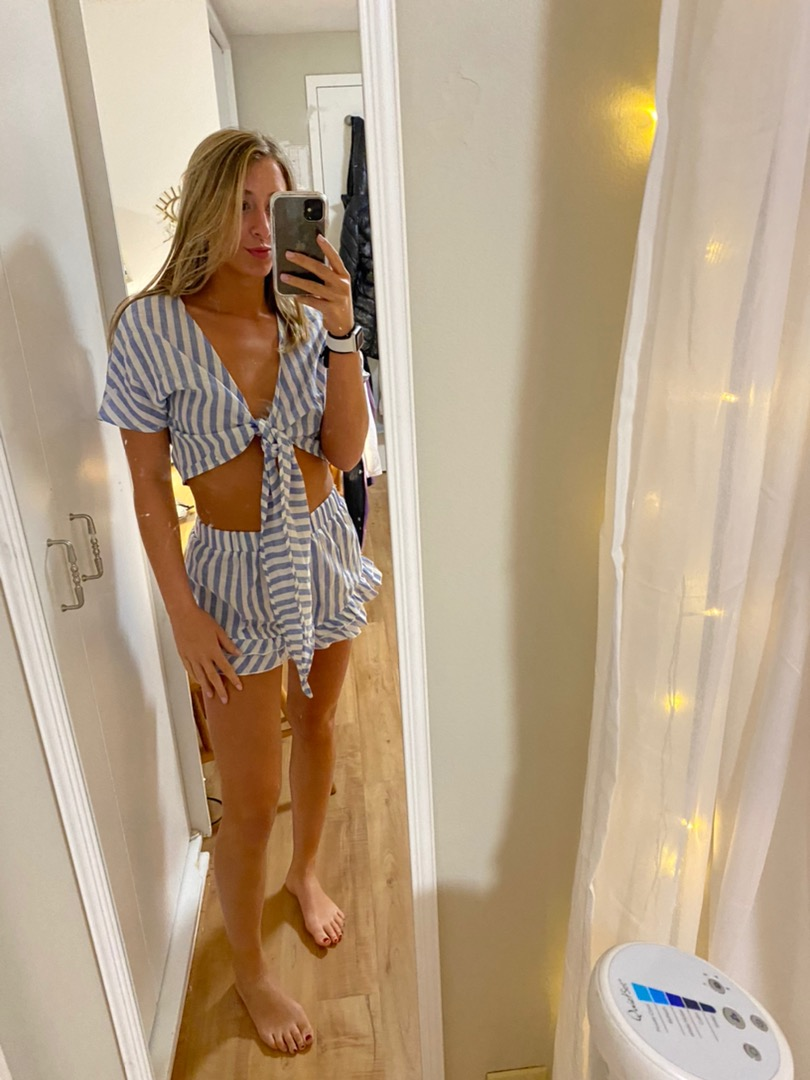 SheIn Two Piece Blue And White Striped Set