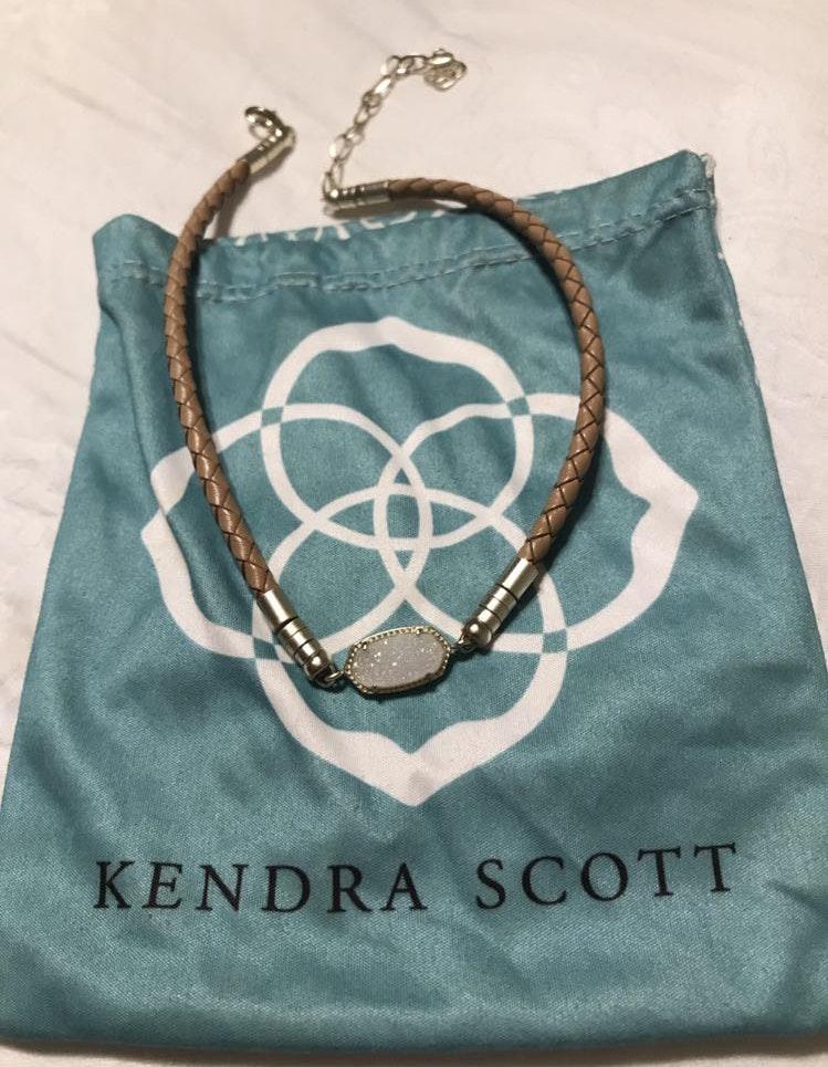Kendra Scott Tan leather and Iridescent Stone Choker