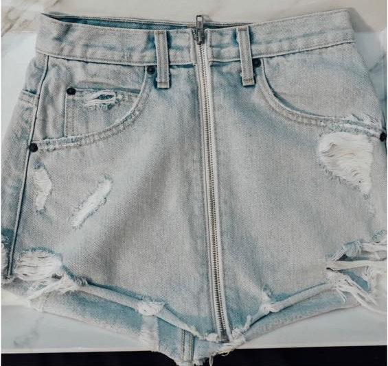Carmar LF  Denim zip front skirt