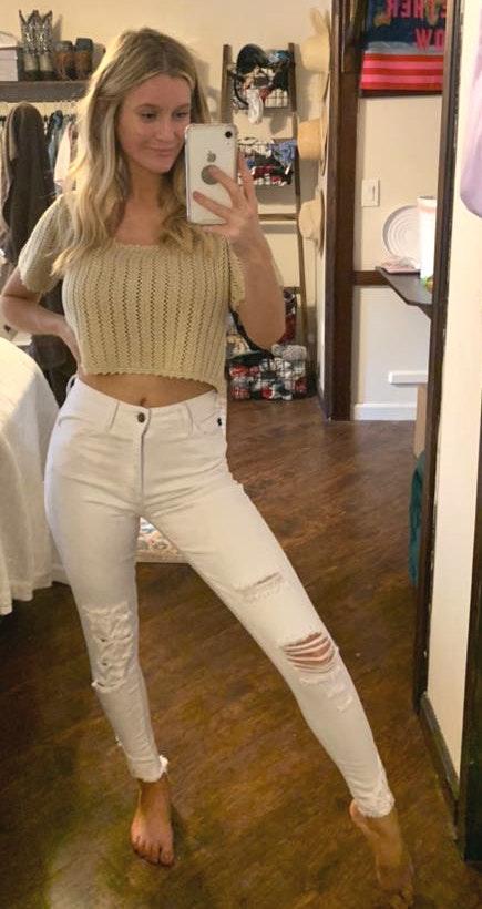 White Denim Distressed Jeans