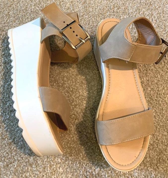 Amazon Beige Platform Sandals