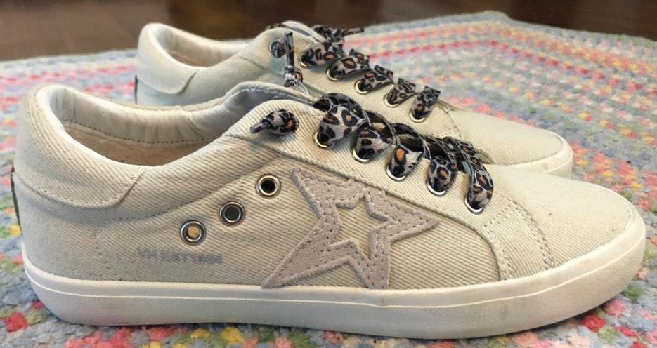 "Vintage Havana sand colored ""natural denim"" sneakers with leopard print laces"