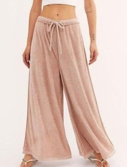 Free People Make It Maxi Wide Leg Pants Pink S Nwt Curtsy