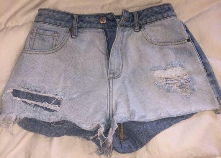 Pacsun High Rise Two Tone Denim Shorts