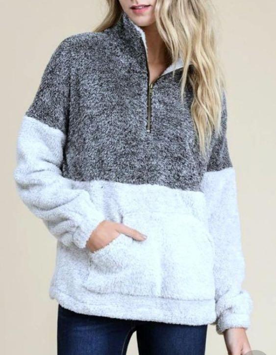 New Two Tone Fleece Pullover Sherpa Quarterzip