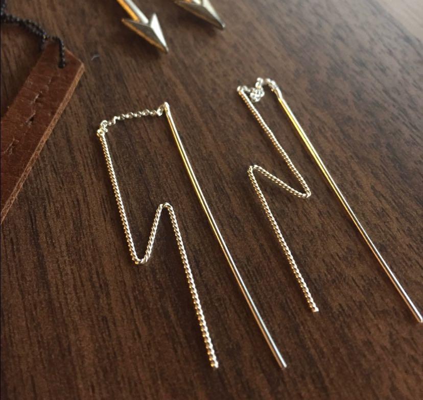 Zig zag Sterling silver thread earrings .925