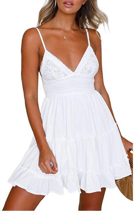 White Tiered Tie back Dress