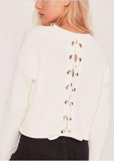 Missguided cropped tie up sweater