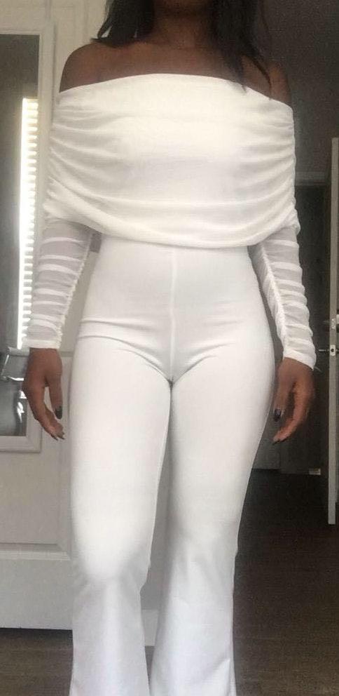 Fashion Nova White Rouche Jumper