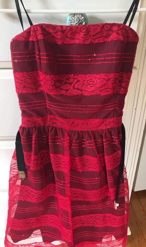 A Byer Red Strapless Dress