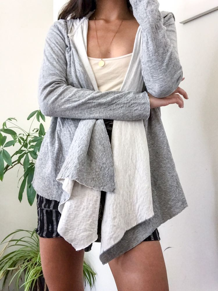 Joie Gray Soft Comfy Hooded Cardigan