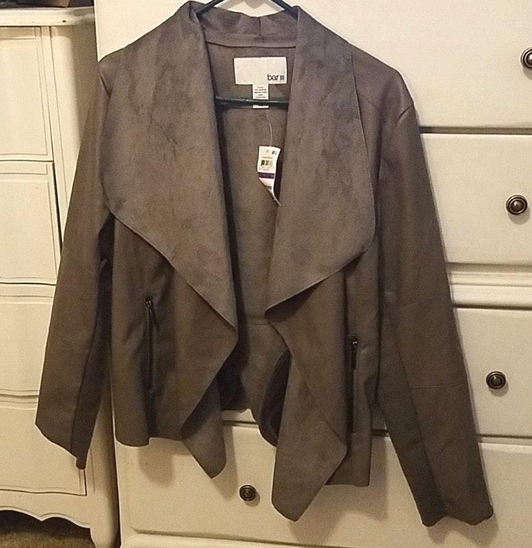 Bar III Womens Black Blazer Wear To Work Jacket XL