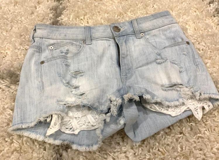Altar'd State Jean Shorts W/ Lace Pocket
