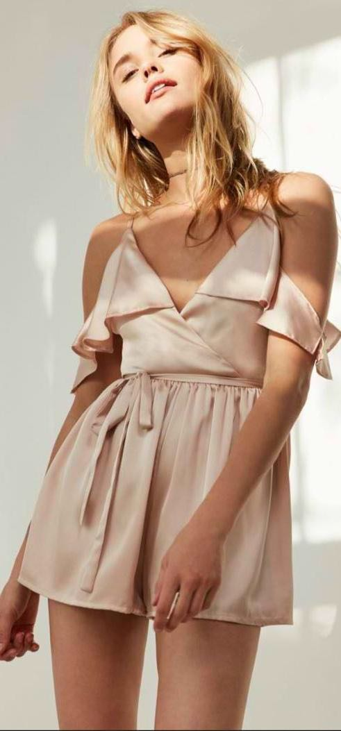 Urban Outfitters Satin Ruffle Romper