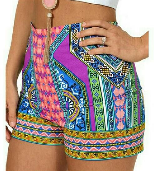 Flying Tomato Printed high waisted shorts