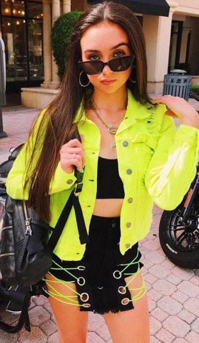 ZARA Cropped Neon Jean Jacket