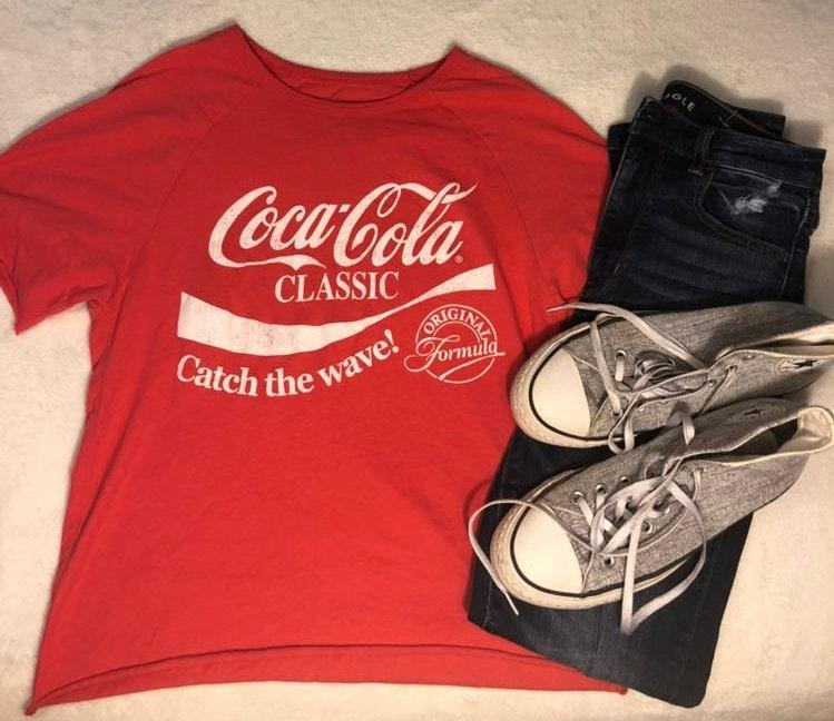 Mighty fine red coca cola cropped shirt