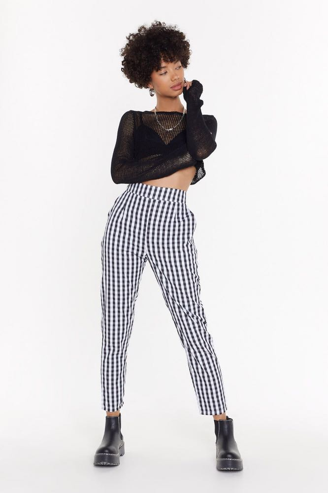 Nasty Gal Jumbo Gingham Turn Up Trousers