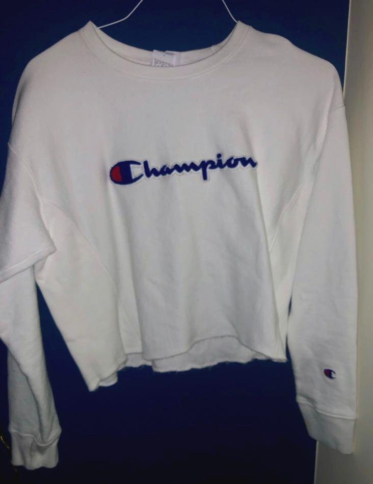 Champion White Cropped Patched  Crew Neck