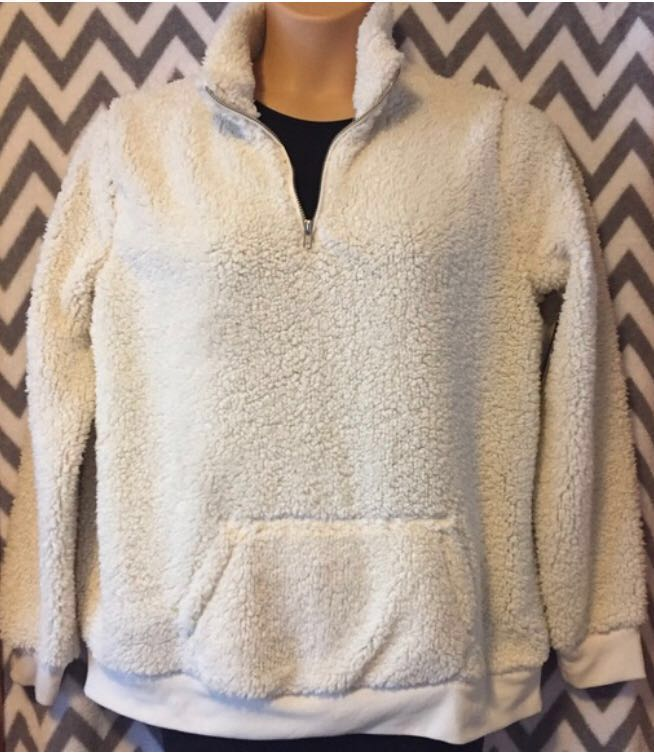 Cream Sherpa With Front Pocket