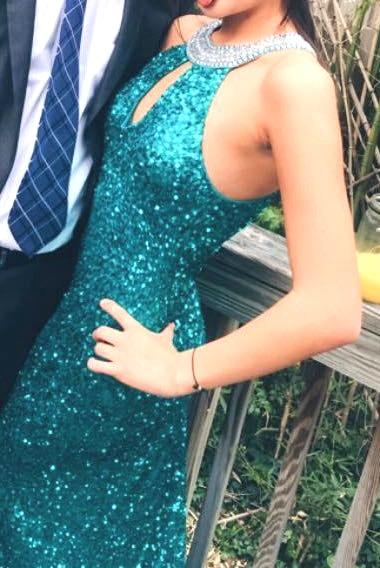Scala Keyhole Open Back Sequin Teal Gown