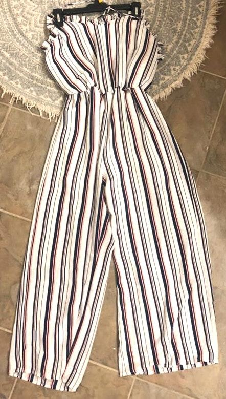 Sienna Sky Red White And Blue Striped Jumpsuit