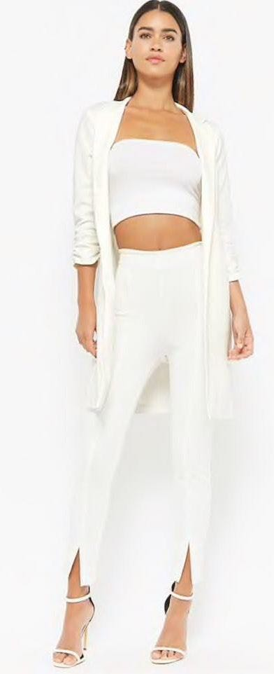 3/4 Sleeve White Blazer