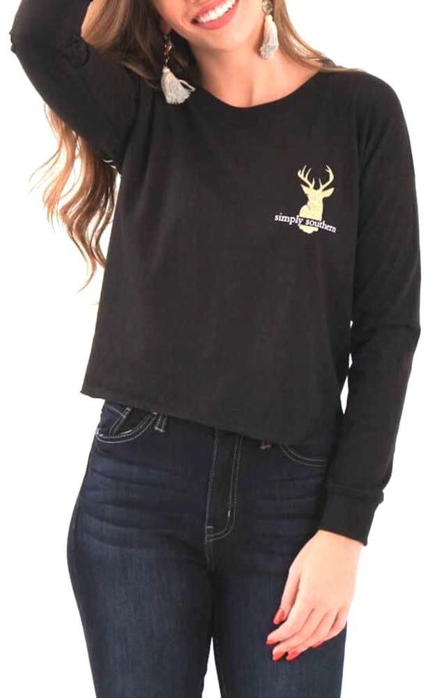 """Simply Southern 🌸SOLD🌸NWT  """"Hey Deer"""" 🦌Cropped Long Sleeve Tee..Size Large"""