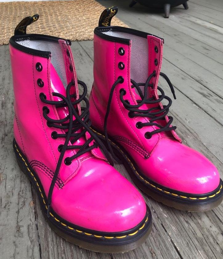 Dr. Martens Hot Pink Patent Leather Boots