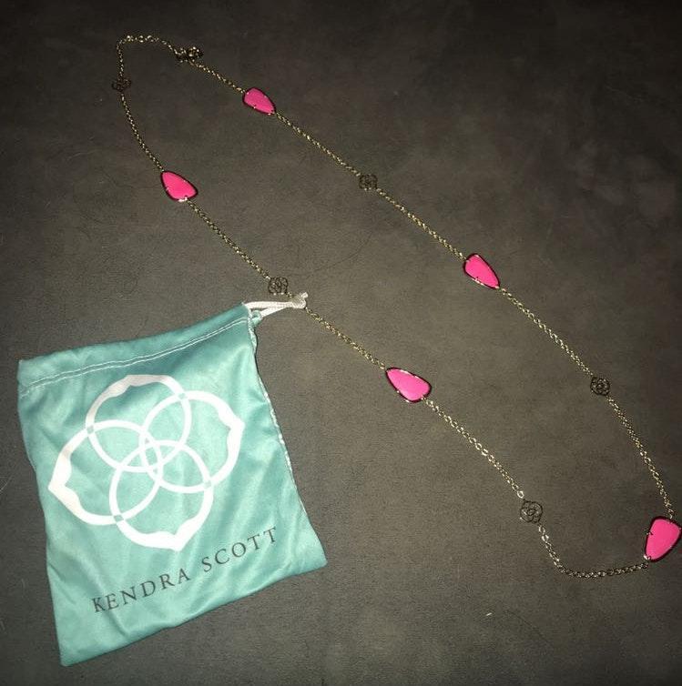 Kendra Scott Gd Chain Pink Storm Lender Scott Necklace