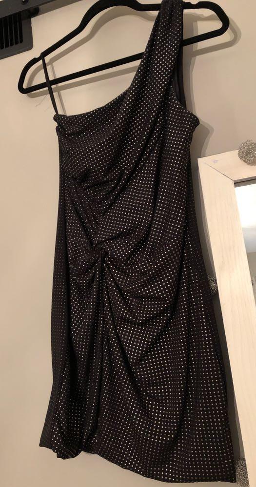 As U Wish One Shoulder Metallic Dress