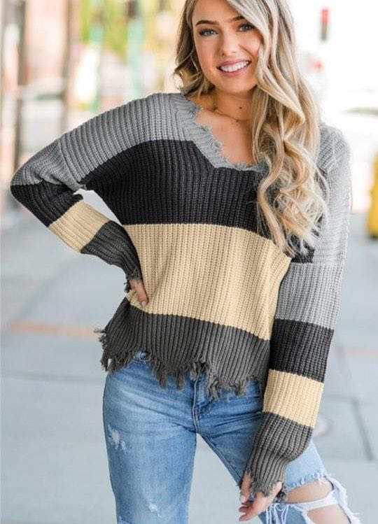 Striped Knit Sweater!