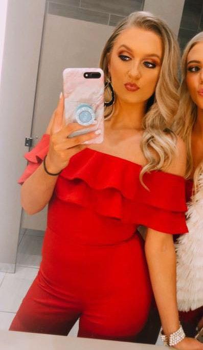 Fashion Nova Red Ruffle Jumpsuit