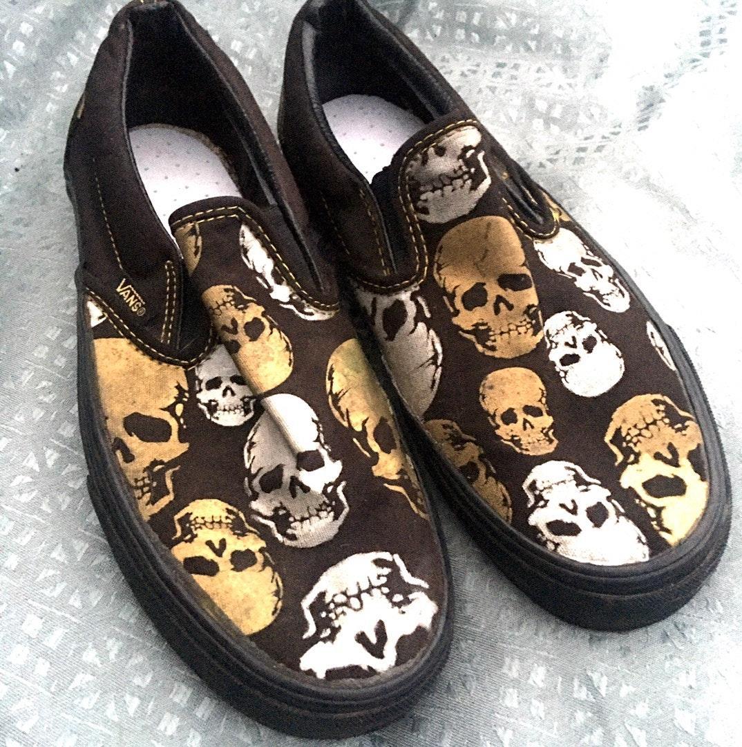 Vans Slip-Ons w/ Silver \u0026 Gold Skulls