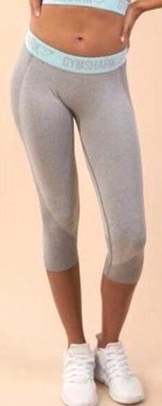 Gymshark Flex Cropped Leggings- Light Gray Marl/Pale Turquoise
