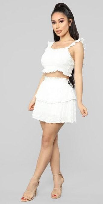 Fashion Nova White Smocked Two Piece Set