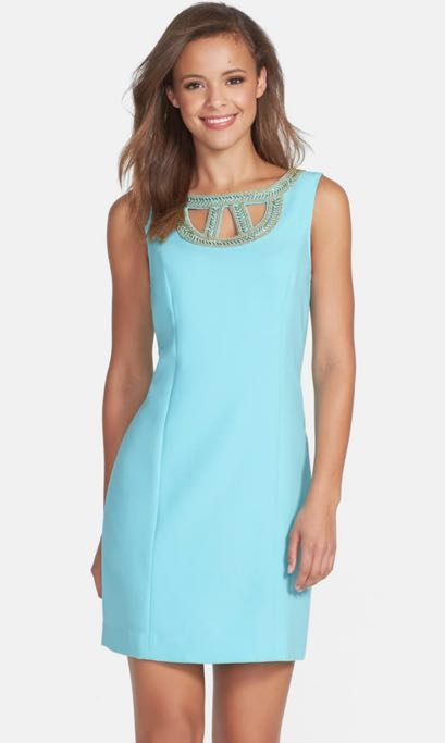Lilly Pulitzer Teal Beaded Cutout Shift Dress