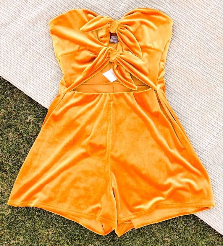 Urban Outfitters Golden Strapless Tie Front Romper