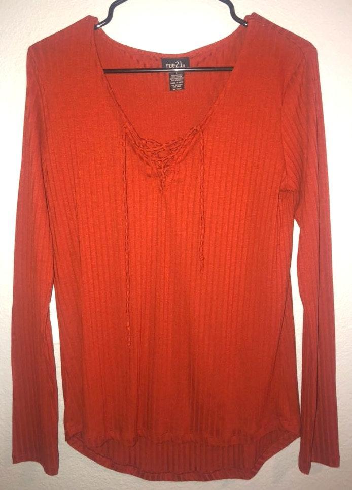 Rue 21 Burnt Orange Criss Cross Shirt
