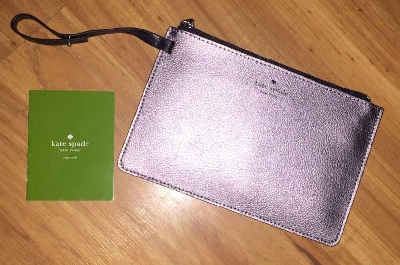 Kate Spade Silver Late Spade Wallet/clutch