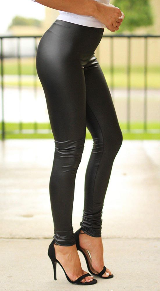 Saved by the Dress Black Faux Leather Leggings