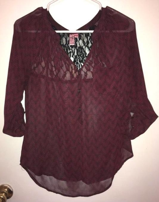 Sheer Maroon 3/4 Sleeve Top