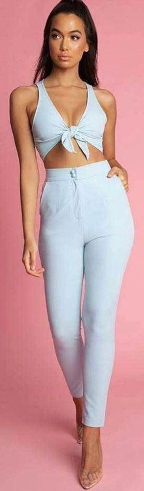 Meshki High Wasted Blue Pants