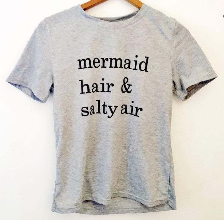 Amazon Mermaid Hair and Salty Air Gray Graphic Tee